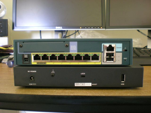 Cisco ASA 5505 Back and Juniper SSG 5 Back