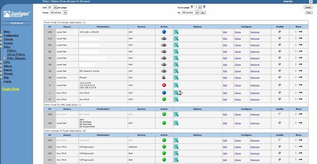 Juniper SSG 5 Policy Management