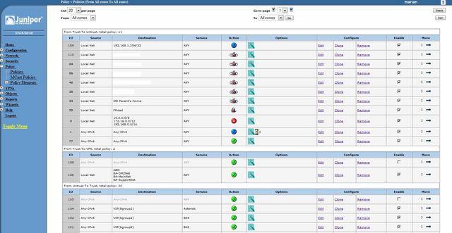 Juniper SSG 5 Policy Management