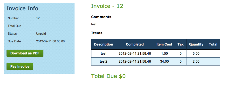 Client Invoice View